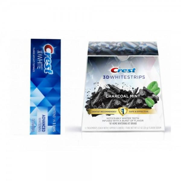 3D White Advanced Whitening + Crest 3D Whitestrips Charcoal Mint