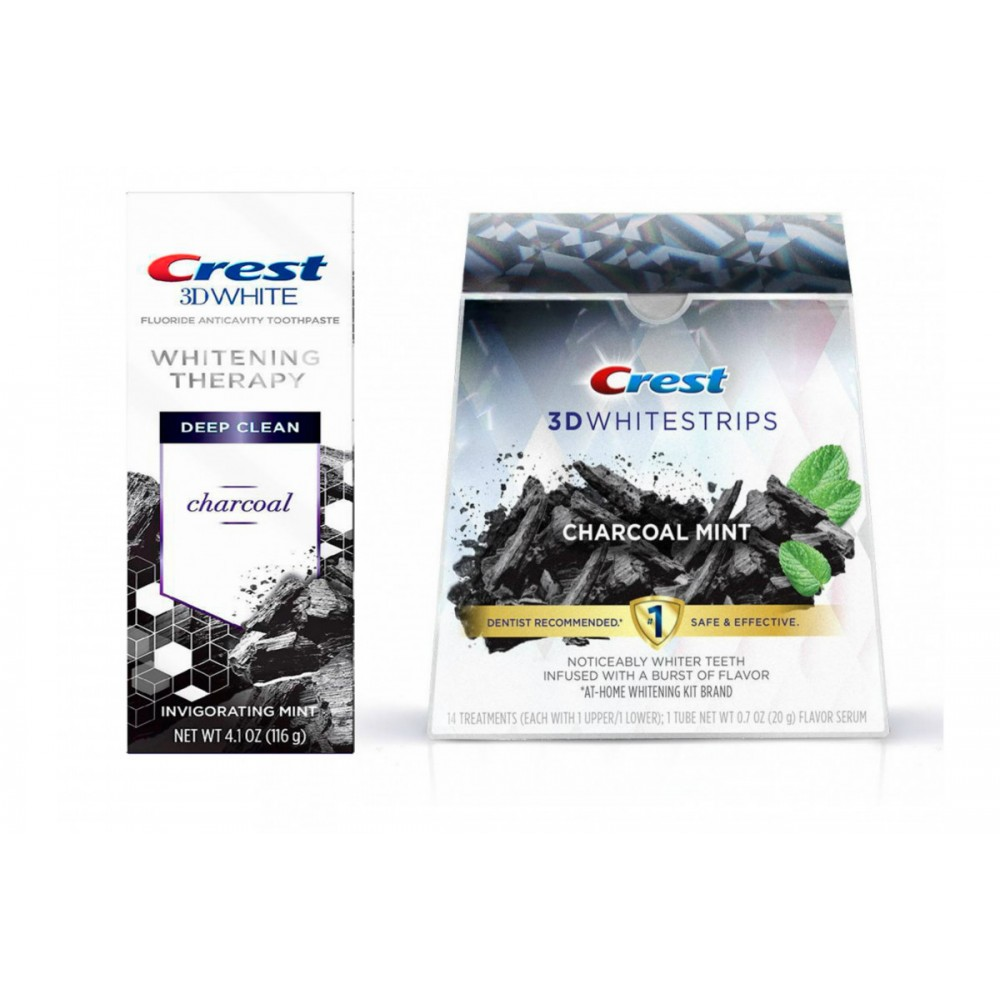 Набор Crest 3D White Whitening Therapy Charcoal + Crest 3D Whitestrips Charcoal Mint