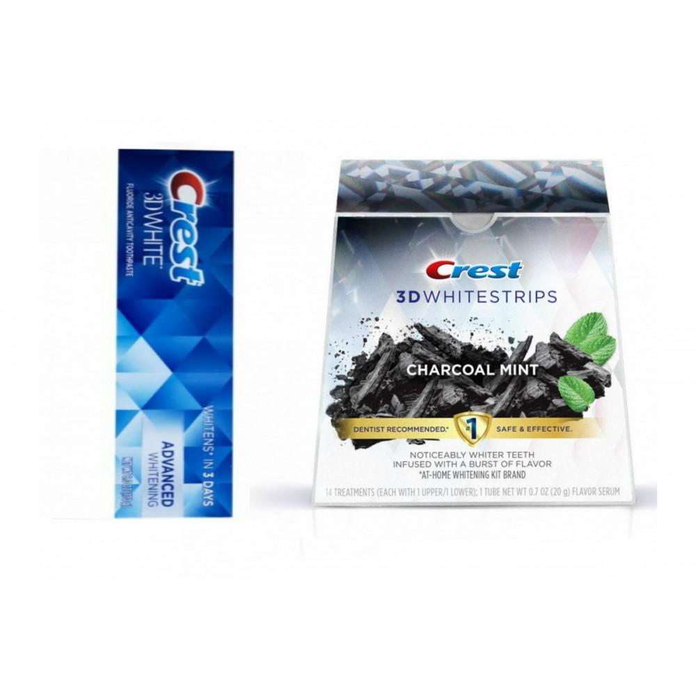 Набор Crest 3D White Advanced Whitening + Crest 3D Whitestrips Charcoal Mint