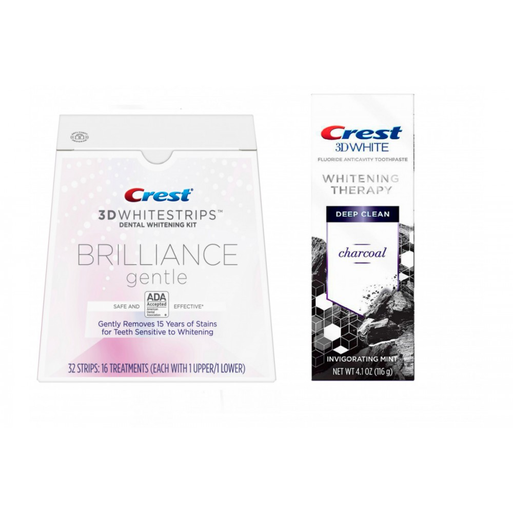 Набор Crest 3D White Whitening Therapy Charcoal + Crest Whitestrips Brilliance gental