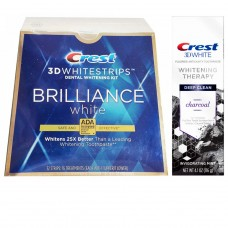 Набор 3D WHITESTRIPS BRILLIANCE WHITE + Зубная паста Crest 3D White Whitening Therapy Charcoal