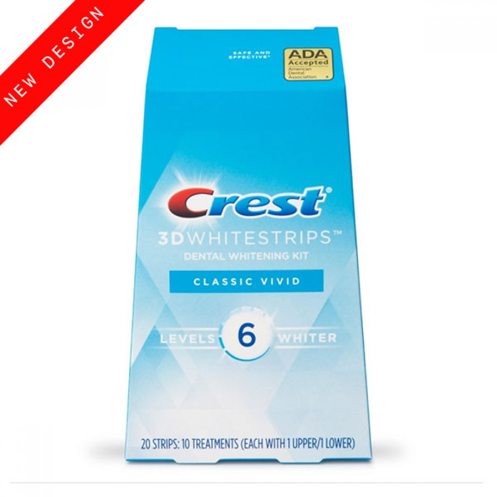 Отбеливающие полоски Crest 3D Whitestrips Classic Vivid NEW 2021 для естественного, эффективного и бережного отбеливания зубов