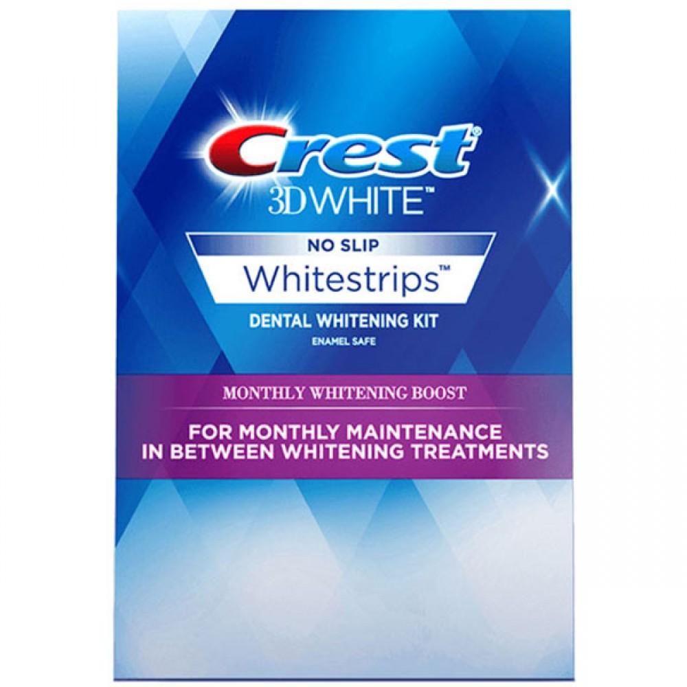 Crest 3D White Whitestrips Monthly Whitening Boost Mini – Отбеливающие полоски для зубов для защиты от ежедневного налета после курса отбеливания