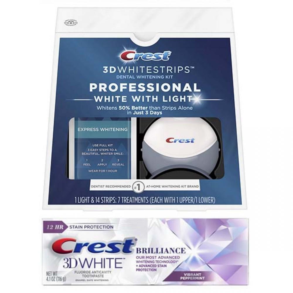 Набор: Комплекс Crest 3D Whitestrips Professional White With Light (7 days) - отбеливающие полоски с системой синего света и зубная паста Crest 3D White Brilliance Vibrant Peppermint